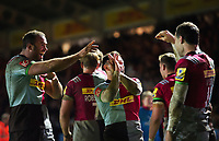 Tim Visser of Harlequins celebrates his match-winning try with team-mates Jamie Roberts and Danny Care. Aviva Premiership match, between Harlequins and Saracens on December 3, 2017 at the Twickenham Stoop in London, England. Photo by: Patrick Khachfe / JMP