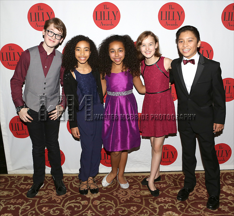 Jake Lucas, Akira Golz, Grace Capeless, Sydney Lucas and Bonale Fambrini backstage at The Lilly Awards Broadway Cabaret'   at The Cutting Room on November 9, 2015 in New York City.