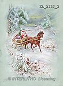 Interlitho, CHRISTMAS SANTA, SNOWMAN, nostalgic, paintings, santa, sleigh(KL2337/3,#X#) Weihnachten, nostalgisch, Navidad, nostálgico, illustrations, pinturas