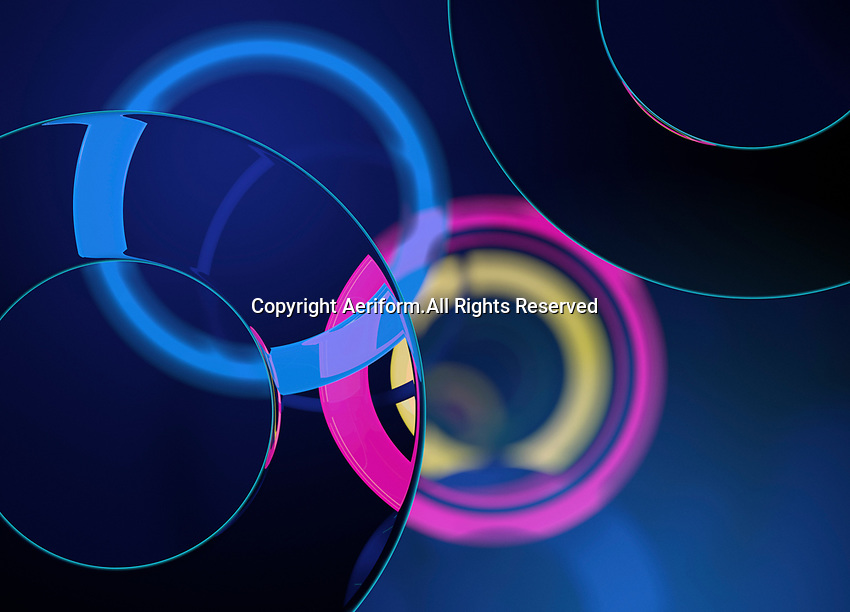 Abstract pattern of brightly coloured overlapping circles