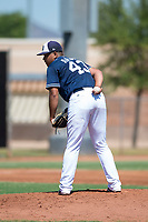 San Diego Padres starting pitcher Luarbert Arias (43) looks in for the sign during an Instructional League game against the Milwaukee Brewers at Peoria Sports Complex on September 21, 2018 in Peoria, Arizona. (Zachary Lucy/Four Seam Images)