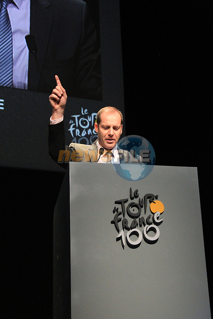 Tour Director Christian Prudhomme at the launch of the route for the 100th edition of the 2013 Tour de France in the Palais de Congress, Paris, France 24th October 2012 (Photo Eoin Clarke/www.newsfile.ie)
