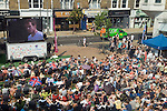 Wimbledon Market Square crowds of people watch Mens Finals of Wimbledon tennis championships Andy Murray. 2013