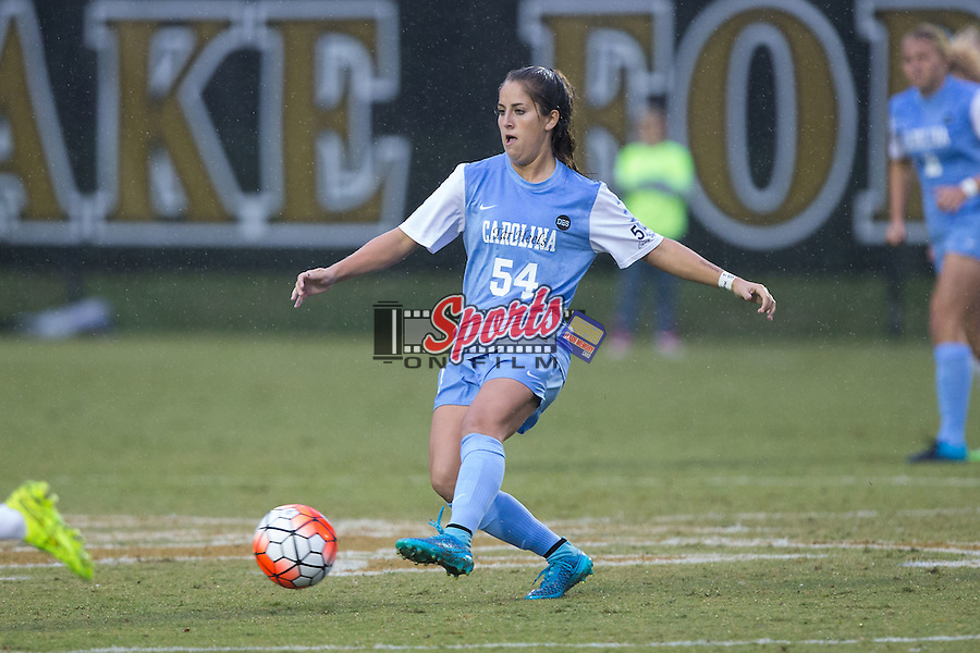 Sarah Ashley Firstenberg (54) of the North Carolina Tar Heels passes the ball during first half action against the Wake Forest Demon Deacons at Spry Soccer Stadium on September 27, 2015 in Winston-Salem, North Carolina.  The Tar Heels defeated the Demon Deacons 1-0.  (Brian Westerholt/Sports On Film)