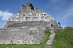 BELIZE - SEPTEMBER 13, 2007:  Visitors at the Xunantunich Mayan ruins on September 13, 2007 in Belize.  (PHOTOGRAPH BY MICHAEL NAGLE)