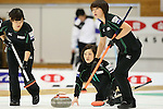 (L to R) Chinami Yoshida, Ayumi Ogasawara, Kaho Onodera (Fortius), , SEPTEMBER 16, 2013 - Curling : Olympic qualifying Japan Curling Championships Women's Final second Mach between Chuden 7-6 Fortius at Dogin Curling Studium, Sapporo, Hokkaido, Japan. (Photo by Yusuke Nakanishi/AFLO SPORT)
