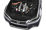 Car Stock 2014 Lexus GS 300H Hybrid F Sport Line 4 Door Sedan 2WD Engine high angle detail view