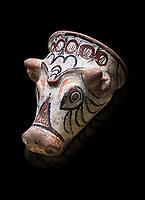 Phrygian terracotta decorated bull head shaped cult vessel. 8th-7th century BC . Çorum Archaeological Museum, Corum, Turkey
