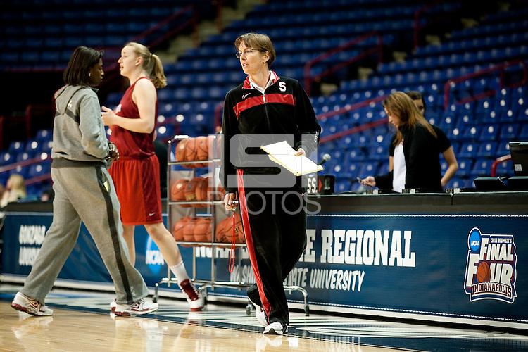 SPOKANE, WA - MARCH 25, 2011:  Head Coach Tara VanDerveer at the Stanford Women's Basketball, NCAA West Regionals practice at Spokane Arena on March 25, 2011.