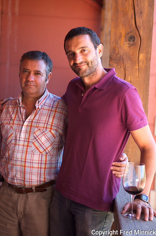 Ramon F. Romero, left, and Diego Ferandez Pons, winemaker, at the Parra Jimenez Organic wines in Spain.