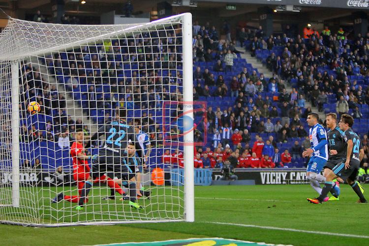 League Santander 2016/2017. Game: 22.<br /> RCD Espanyol vs Real Sociedad: 1-2.<br /> 1-1: Hernan Perez.