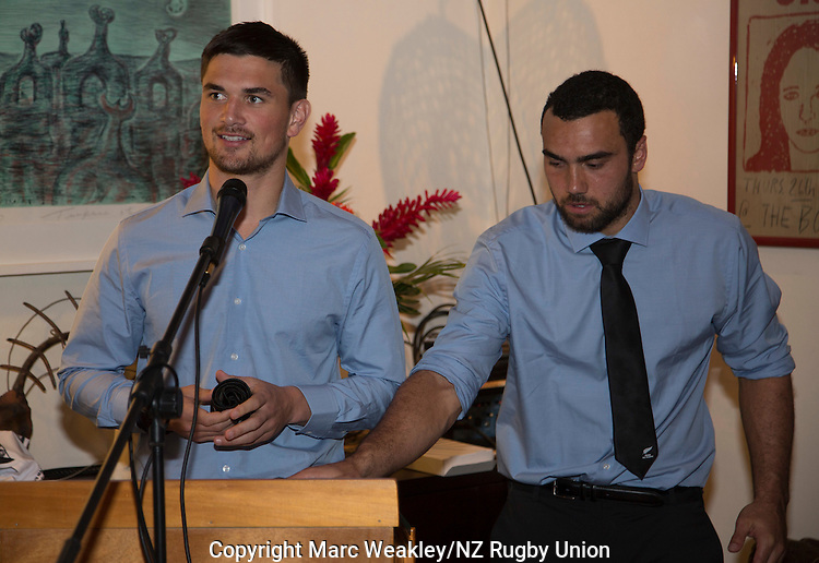 Otere Black (L) receives his official debutant's Maori All Blacks tie at the post-match function at the NZ High Commission. At right is Captain Charlie Ngatai. July 11, 2015. Photo: Marc Weakley