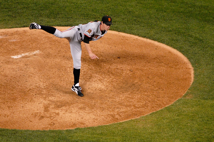 San Francisco Giants pitcher Tim Lincecum delivers a pitch against the Colorado Rockies. The Giants defeated the Rockies 6-5 at Coors Field in Denver, Colorado on May 20, 2008.