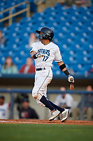 Lake County Captains designated hitter Jorma Rodriguez (17) follows through on a swing during the first game of a doubleheader against the South Bend Cubs on May 16, 2018 at Classic Park in Eastlake, Ohio.  South Bend defeated Lake County 6-4 in twelve innings.  (Mike Janes/Four Seam Images)