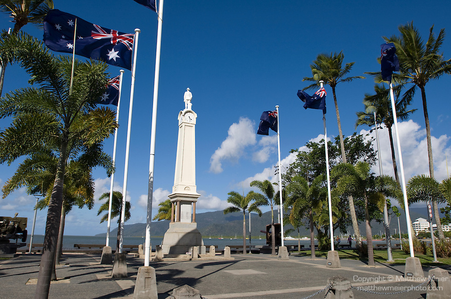 Cairns, Queensland, Australia; a monument to the soldiers of the first World War stands in the Cairns Esplanade , © Matthew Meier, matthewmeierphoto.com All Rights Reserved