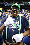 13 March 2015: A member of the Notre Dame band. The Notre Dame Fighting Irish played the Duke University Blue Devils in an NCAA Division I Men's basketball game at the Greensboro Coliseum in Greensboro, North Carolina in the ACC Men's Basketball Tournament semifinal game. Notre Dame won the game 74-64.