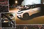 Faraday Future's FF 91 prototype electric crossover vehicle .The 1,050-horsepower FF 91 features autonomous driving and can go from 0 to 60 mph in 2.39 seconds. CES, Shown during a speed test as it is unveiled during a press event for CES 2017 at The Pavilions at Las Vegas Market on January 3, 2017 in Las Vegas, Nevada.
