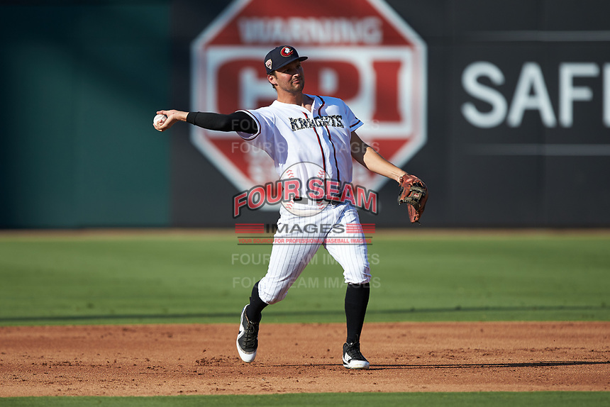 Charlotte Knights third baseman Patrick Leonard (20) makes a throw to first base against the Durham Bulls at BB&T BallPark on July 4, 2018 in Charlotte, North Carolina. The Knights defeated the Bulls 4-2.  (Brian Westerholt/Four Seam Images)