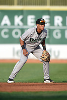 Dayton Dragons second baseman Avain Rachal (7) during a game against the Lake County Captains on June 7, 2014 at Classic Park in Eastlake, Ohio.  Lake County defeated Dayton 4-3.  (Mike Janes/Four Seam Images)