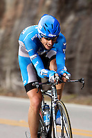 Egoi Martinez, of the Discovery Channel Pro Cycling Team, descends Lookout Mountain, near the Tennessee border, during the Stage 3 individual time trial of the Ford Tour de Georgia pro cycling race. Martinez finished 16th in the 24.8-mile (39.9km) stage with a time of 57:44.24.<br />