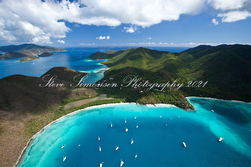 Aerial view of Francis Bay and Maho Bay.Virgin Islands National Park.St. John.U.S. Virgin Islands