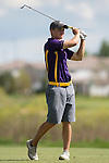 19 MAY 2016: Calum Hill of Western New Mexico hits his second shot during the 2016 Division II Men's Individual Golf Championship held at Green Valley Ranch Golf Club in Denver, CO. Justin Tafoya/NCAA Photos