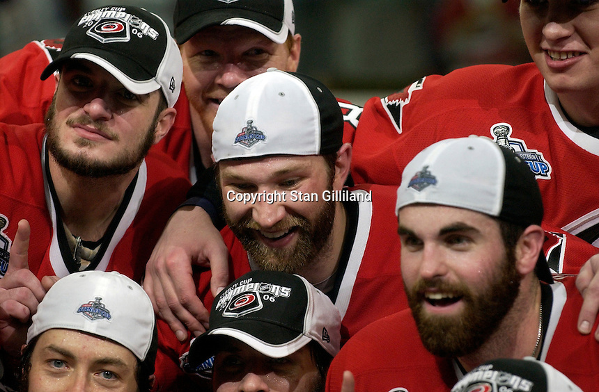 From left to right, Chad LaRose, Glen Wesley, Erik Cole and Andrew Ladd gather for a team photo. The Carolina Hurricanes beat the Edmonton Oilers 3-1 in game seven to take the Stanley Cup at the RBC Center in Raleigh, NC Monday, June 19, 2006.