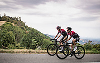 Chris Froome (GBR/Ineos) rolling in way behind the bunch (as 86th +5 minutes down) with teammate Jonathan Castroviejo (ESP/Ineos) <br /> <br /> Stage 1: Clermont-Ferrand to Saint-Christo-en-Jarez (218km)<br /> 72st Critérium du Dauphiné 2020 (2.UWT)<br /> <br /> ©kramon