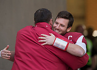 Hawgs Illustrated/BEN GOFF <br /> Bret Bielema, Arkansas head coach, hugs quarterback Austin Allen during recognition of senior players before the game against Missouri Friday, Nov. 24, 2017, at Reynolds Razorback Stadium in Fayetteville.