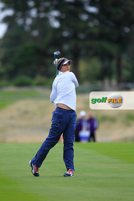 Lexi Thompson of Team USA on the 2nd fairway during Day 2 Fourball at the Solheim Cup 2019, Gleneagles Golf CLub, Auchterarder, Perthshire, Scotland. 14/09/2019.<br /> Picture Thos Caffrey / Golffile.ie<br /> <br /> All photo usage must carry mandatory copyright credit (© Golffile   Thos Caffrey)