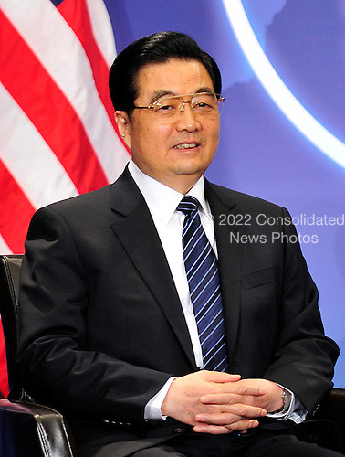 President Hu Jintao of China meet with United States President Barack Obama (not pictured) on the sidelines of the Nuclear Security Summit at the Washington Convention Center, Monday, April 12, 2010 in Washington, DC. .Credit: Ron Sachs / Pool via CNP