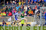 Peter Crowley breaks away from Waterford's Maurice O'Gorman last Saturday in Fitzgerald Stadium for the Munster GAA football championship