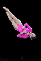 02/20/09 - Photo by John Cheng for USA Gymnastics. American gymnast Kamerin Moore performs on floor exercise in a meet against Japan before the Tyson American Cup at Sears Centre Arena in Chicago.