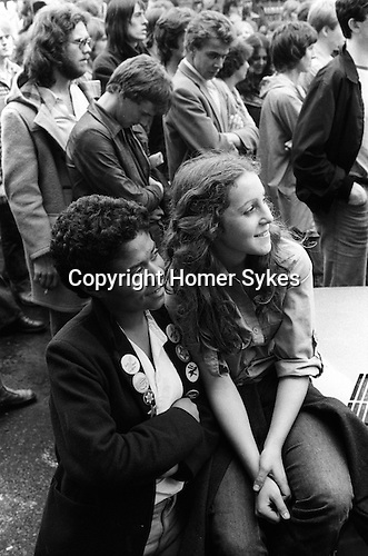 Anti Nazi League demonstration Brick Lane area London 1978.<br /> SWP Socalist Workers Party demonstration in the east end of London against the National Front and racism. This was a regular weekly demo at the north end of  Brick lane in the summer of 1978.