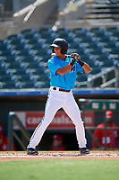 Miami Marlins José Salas (5) at bat during an Instructional League game against the Washington Nationals on September 25, 2019 at Roger Dean Chevrolet Stadium in Jupiter, Florida.  (Mike Janes/Four Seam Images)