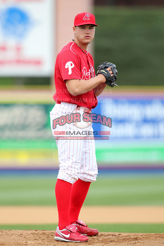 Reading Phillies pitcher Jay Johnson #30 during practice before a game against the New Hampshire Fisher Cats at FirstEnergy Stadium on April 10, 2012 in Reading, Pennsylvania.  New Hampshire defeated Reading 3-2.  (Mike Janes/Four Seam Images)
