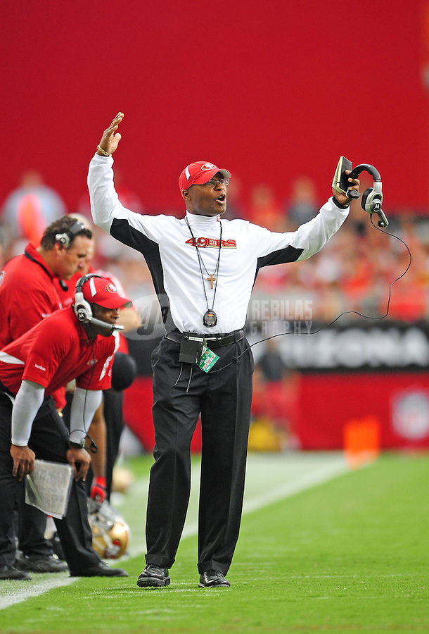 Sept. 13, 2009; Glendale, AZ, USA; San Francisco 49ers head coach Mike Singletary reacts against the Arizona Cardinals at University of Phoenix Stadium. San Francisco defeated Arizona 20-16. Mandatory Credit: Mark J. Rebilas-