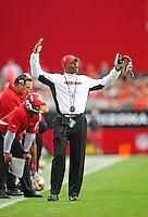 Sept. 13, 2009; Glendale, AZ, USA; San Francisco 49ers head coach Mike Singletary reacts against the Arizona Cardinals at University of Phoenix Stadium. San Francisco defeated Arizona 20-16. Mandatory Credit: Mark J. Rebilas-
