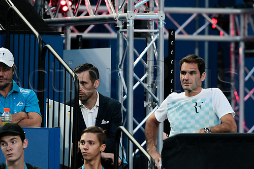6th January 2018, Perth Arena, Perth, Australia; MasterCard Hopman Cup Tennis Final; Roger Federer of Team Switzerland watches Belinda Bencic play against Angelique Kerber of Team Germany