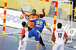 21.01.2013 Barcelona, Spain. IHF men's world championship, Eighth Final. Picture show Mohamed Mahmoud in action during game slovenia vs Egypt at Palau St Jordi