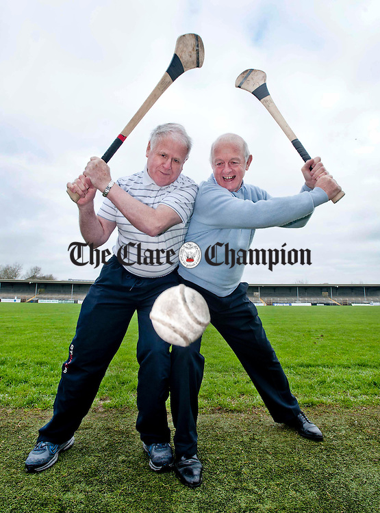 Michael Hanrahan of Ennis CBS and Dickie Pyne of St Flannan's pictured Cusack Park, the venue for 1962 Harty Cup Final. Photograph by Declan Monaghan