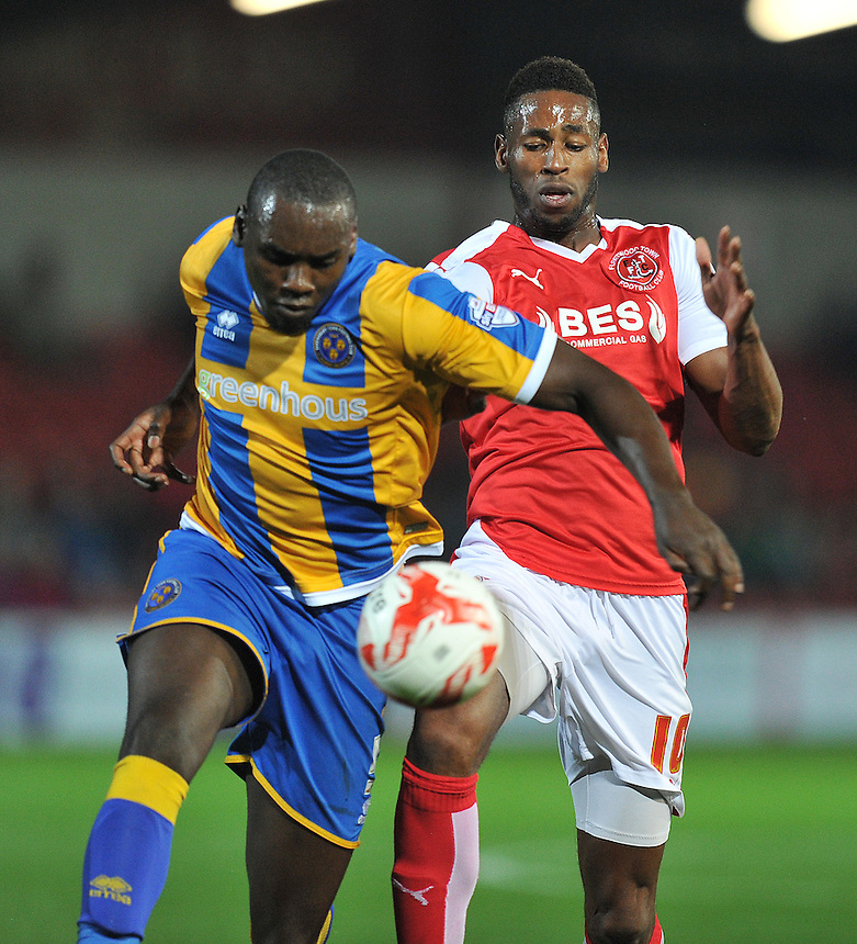 Fleetwood Town's Jamille Matt battles with Shrewsbury Town's Jermaine Grandison<br /> <br /> Photographer Dave Howarth/CameraSport<br /> <br /> Football - Johnstone's Paint Trophy Northern Section Second Round - Fleetwood Town v Shrewsbury Town - Tuesday 6th October 2015 - Highbury Stadium - Fleetwood<br />  <br /> &copy; CameraSport - 43 Linden Ave. Countesthorpe. Leicester. England. LE8 5PG - Tel: +44 (0) 116 277 4147 - admin@camerasport.com - www.camerasport.com