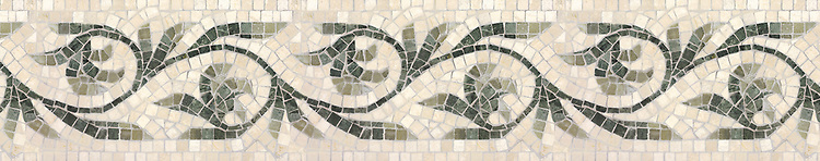 "8"" Romanza border, a hand-cut mosaic shown in polished Botticino, Verde Luna, Verde Alpi, and Spring Green by New Ravenna."