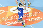 21.01.2013 Barcelona, Spain. IHF men's world championship, Eighth Final. Picture show Jure Dolenc in action during game slovenia vs Egypt at Palau St Jordi