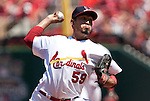 June 20, 2010       St. Louis Cardinals relief pitcher Fernando Salas (59) pitches in the fifth inning.  The St. Louis Cardinals lost 3-2 to the Oakland Athletics in the final game of a three-game homestand at Busch Stadium in downtown St. Louis, MO on Sunday June 20, 2010.