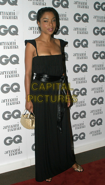 SOPHIE OKONEDO.The 8th Anual GQ Men of The Year Awards,.The Royal Opera House,.London, 6th September 2005.full length black dress ribbon balt gold purse handbag strappy sandals.www.capitalpictures.com.sales@capitalpictures.com.© Capital Pictures.