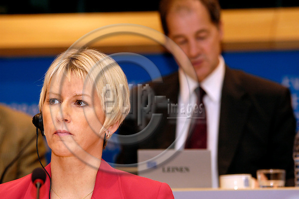 BRUSSELS -- BELGIUM -- 30 SEPTEMBER 2004 -- Margot WALLSTRÖM (Wallstrom, Wallstroem) (L), Swedish Commisioner designate in charge of Institutional Relations and Communication Strategy,  prior to her hearing in the European Parliament, behind her Jo LEINEN (R). -- PHOTO: EUP-IMAGES / JAKUB PERSIN
