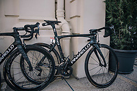 As the the stage start is only a few 100 meters away, the (team SKY) rider's bikes are stalled in the team hotel entrance; out of their rooms &amp; onto their bikes... <br /> Here Chris Froome's (GBR/SKY) race machine<br /> <br /> 104th Tour de France 2017<br /> Stage 5 - Vittel &rsaquo; La Planche des Belles Filles (160km)