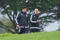 Manager Chris Coleman and Ian Gwyn Hughes arrive for the Wales open Training session ahead of the opening FIFA World Cup 2018 Qualification match against Moldova at The Vale Resort, Cardiff, Wales on 31 August 2016. Photo by Mark  Hawkins / PRiME Media Images.