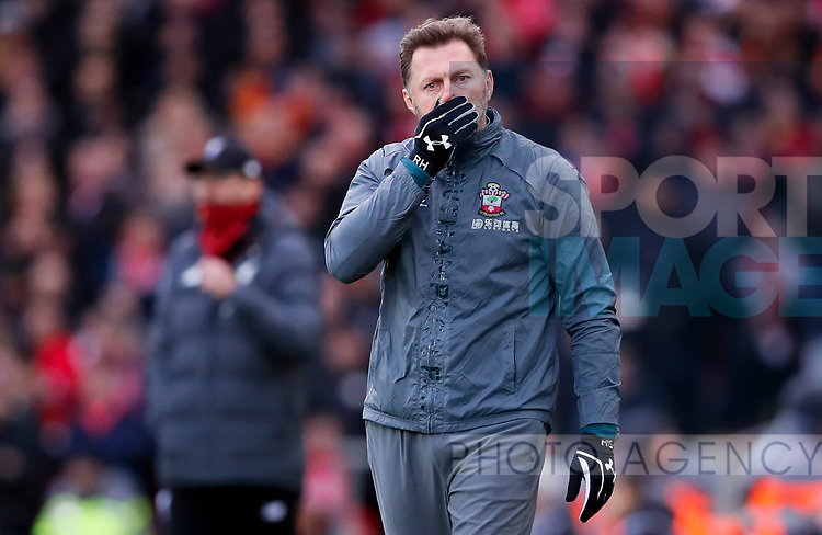 Southampton manager Ralph Hasenhuttl reacts during the Premier League match at Anfield, Liverpool. Picture date: 1st February 2020. Picture credit should read: James Wilson/Sportimage